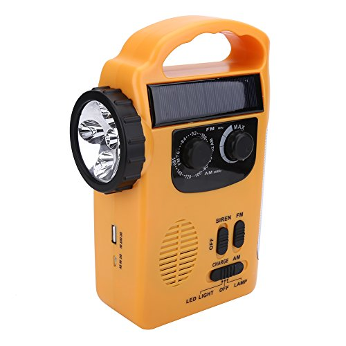 T-best Emergency LED Flashlight Camping Solar Powered/Hand-cranked Chargeable Radio Light Portable FM/AM Radio Survival Lamp USB Phone Charger (Yellow)