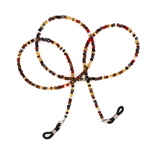 Beaded Eyeglass Chain Sunglasses Holder Strap Eyewear Retainer Lanyard (Brown&Black)