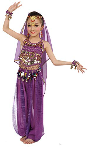 Girls Belly Dance Costume Set,Kids Halloween Costume Top Pants Jewelry Accessory Purple]()