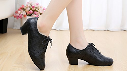 Salabobo AQQ Heel 7010 toe Block Sneaker shoes Leather Womens Practice Dance Black Round rrwCqS