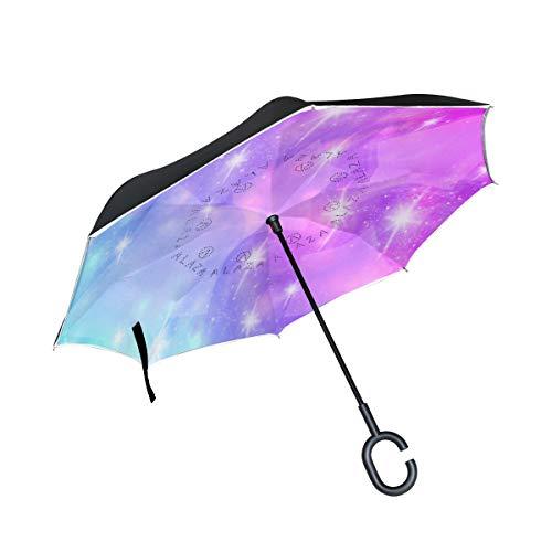 Reverse Umbrella Purple Sparkle Star Windproof Double Layer for Car