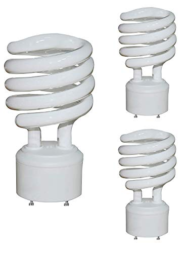 Daylight Mini Twist Cfl - 3 Pack - 23-Watt 2 Prong Mini Twist Self-Ballasted CFL Light Bulbs -GU24 Base- UL Listed - -120 V Bright Lighting-Spiral 2 Pin Plug-in -5000K Daylight 1600lm-(100Watt Equivalent)10,000 Hour Lifespan