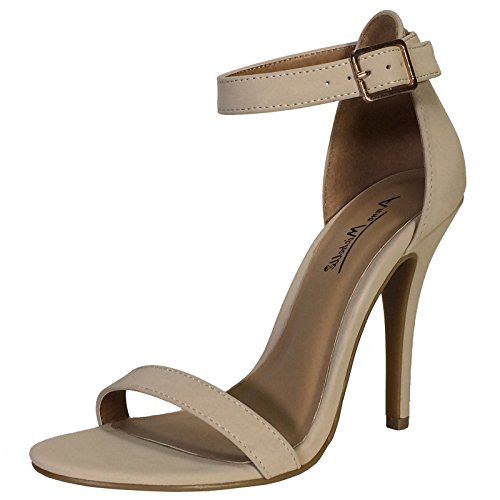 Pu Sandal Ankle Dress Strap Women's Nubuck Heel Michelle Single Band Anne with Nude aRFq7F
