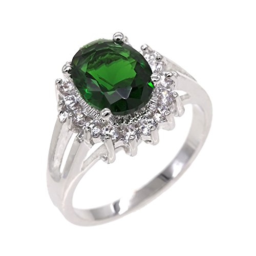 Lavencious Oval Round Emerald CZ Rings Wedding Party Statement Engagement Inspired Cocktails Gold Plated for Woman Size 5-10 (Green, 6)