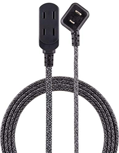 (Cordinate Designer 3-Outlet Extension Cord, 2 Prong Power Strip, Extra Long 15 Ft Cable with Flat Plug, Braided Fabric Cord, Slide-to-Close Safety Outlets, Black/Gray,)