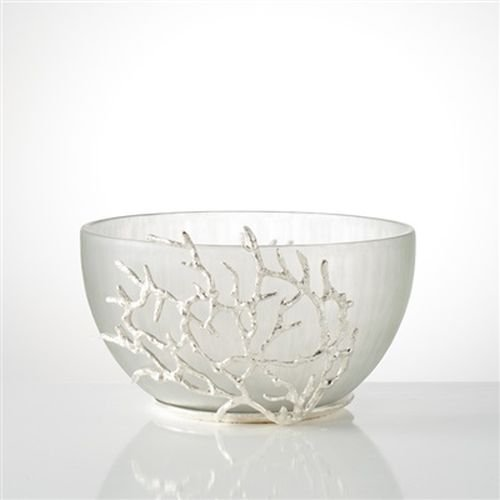 TORRE & TAGUS REEF TRIM GLASS BOWL - SILVER by Torre & Tagus