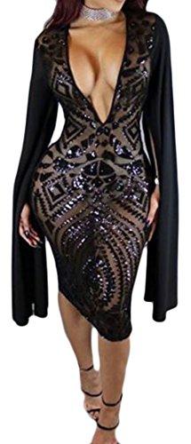 Deep Black Club Women's Sequins Bodycon Cruiize Classic Cape Dresses Neck V Evfa6RTq6
