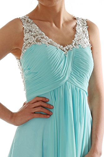 EveningBall Formal Prom Women Long MACloth V Straps Pistachio Gown Lace Dress Neck Chiffon HapvxqS