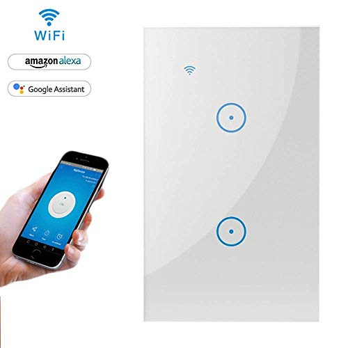 Light Touch Panel Switch,Remote Control with Smart Phone,Compatible with Alexa and Google Assistant,Timer Function,Wireless Lighting Control(Wall Switch 2 Gang) ()