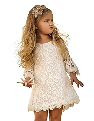 Tkiames Girls Lace Flower Dress Casual Crew Neck Floral A-Line Party Dress