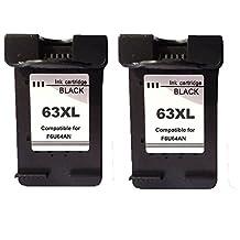 Remanufactured for HP 63XL Ink Cartridge 63XL Black F6U64A (2 Black, 2-Pack)