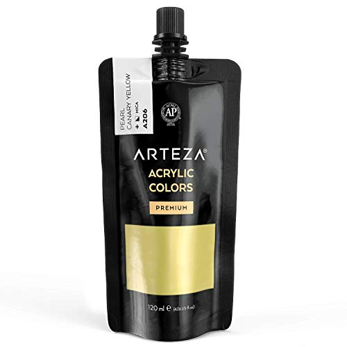 Arteza Metallic Acrylic Paint, Pearl Canary Yellow A206, 120 ml Pouch, Highly Pigmented & Fade-Resistant, Non-Toxic, for Artists, Hobby Painters & Kids