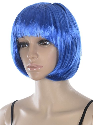 AshopZ Women Cosplay Costume Short Curly Wavy Halloween Party Wigs (Halloween Costumes With Colored Wigs)