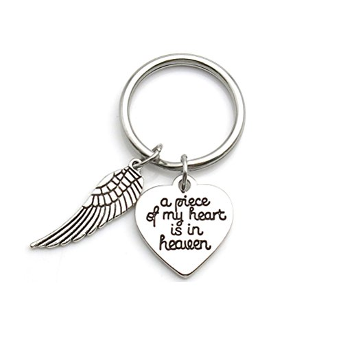 Memorial Jewelry A Piece of My Heart is in Heaven Keychain Angel Wing Key Chain Memorial Gift (Letter To Son From Mother In Heaven)