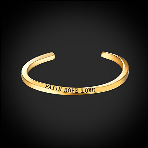 U7 FAITH HOPE LOVE Engraved Bangle Inspirtional Jewelry 18K Gold Plated Plated Twisted Cuff Bracelet by U7 (Image #1)