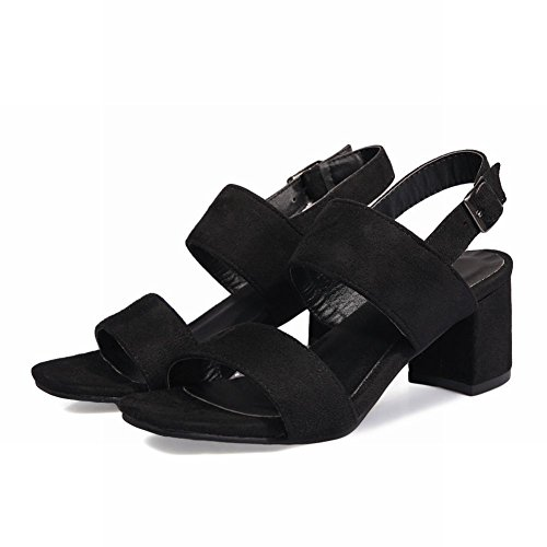 Carolbar Womens Buckle Simple Open Toe Comfort Mid Heel Sandals Black AdWlRWq