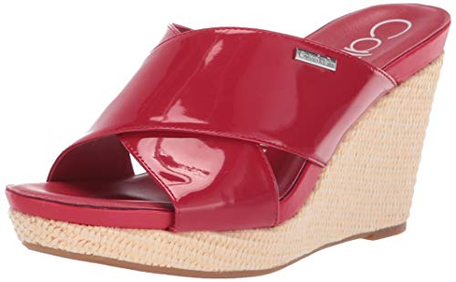Calvin Klein Women's JACOLYN Wedge Sandal, Scarlet Patent 7.5 M US