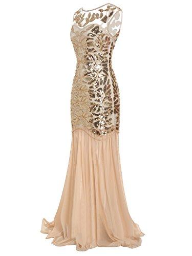 Pailletten FAIRY Rücken verschönert Champagner Gold V D20S004 Abend 1920 Abschlussball Kleid Bodenlänge COUPLE qrwIrUX
