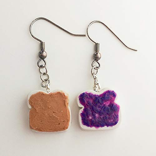 Peanut Butter and Grape Jelly Earrings Faux Food Drink Jewelry Halloween Christmas]()