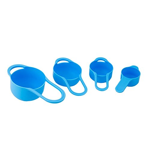 Set of 8 Compact Nesting Mixing Bowl Set Measuring Tools Sieve Colander Food Prep Plastic Dishwasher Safe Non-Slip, 8-Piece, By Intriom (Blue) by Intriom (Image #3)