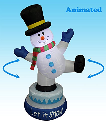 5 Foot Tall Lighted Animated Christmas Inflatable Snowman with Hat Outdoor Indoor Yard Decoration (Buy Outdoor Christmas Decorations)