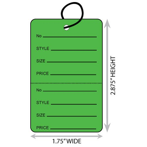 "Large (1.75"" X 2.875"") Green Coupon Merchandise Tag with Perforation and String. Case of 2,000 Tags. - Green Coupon Merchandise Tag"