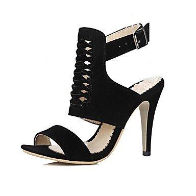 LvYuan Mujer-Tacón Stiletto-Confort Zapatos del club-Sandalias-Vestido Informal Fiesta y Noche-Vellón-Negro Amarillo Rojo Ejército verde Yellow