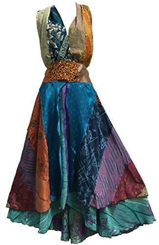 (Boho Handmade Patchwork Fair Trade Halter Neck Indian Silk Sari Long Dress (#8))