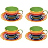 Windhorse Set of 4 Rainbow Striped Tea / Coffee Cups & Saucers