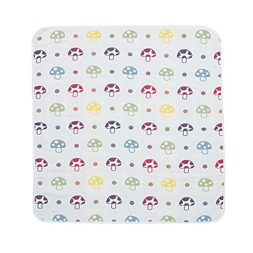 CFP Embroidered Cotton Organic Baby Blanket - Full Cotton Newborn Baby Blanket, Mushroom Baby Bedding Crib Blanket, Cradle Blanket, Pram Blanket (Mushroom) ()