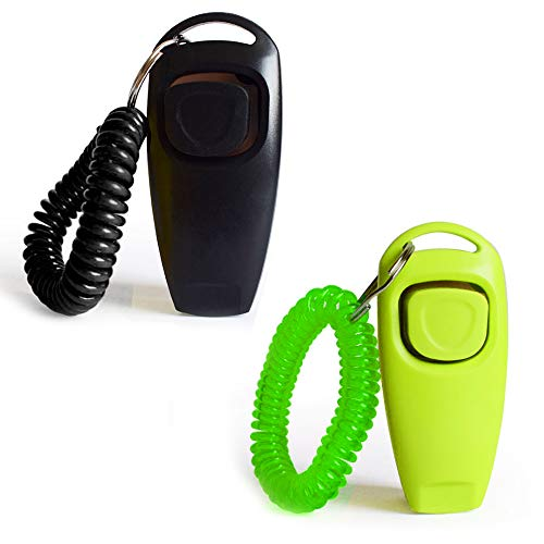 - Dog Training Clickers 2 in 1 Whistle and Clicker Pet Training Tools Set with Wrist Strap for Dogs Cats Birds Horses Puppies Reptiles and Small Animals 2 Pack