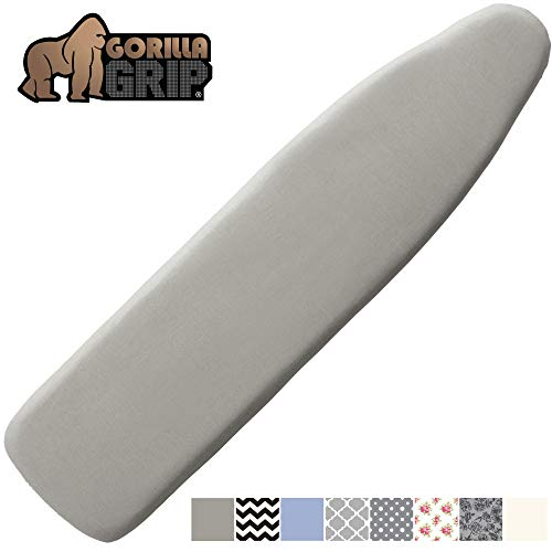 Gorilla Grip Reflective Silicone Ironing Board Cover, 15x54, Fits Large and Standard Boards, Pads Resist Scorching and Staining, Elastic Edge Covers, Thick Padding, No Fasteners Needed, Silver (Cover 18 54 Ironing X Board)