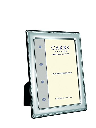Carrs Silver Bead - Carrs of Sheffield Bead Edge Sterling Silver Photograph Frame 7 x 5 Velvet Back can stand portrait or landscape by Carrs Silver