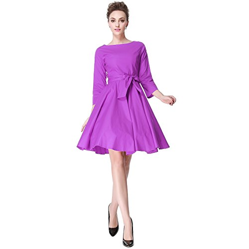 Heroecol 50s 60s Hepburn 3/4 Sleeve Style Vintage Retro Swing Rockailly Dresses Size M Color - Dot Dress Womens In Polka