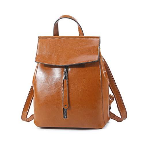 Oil Leather Teenagers Backpack Wax Bags Female Travel Fashion Shoulder School Brown Women Cow Tq0xA