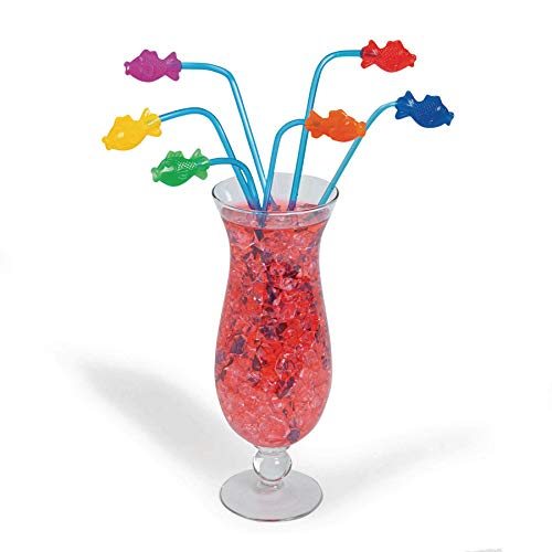 Fun Express Plastic Tropical Fish Straws  - Pack of 12 ()