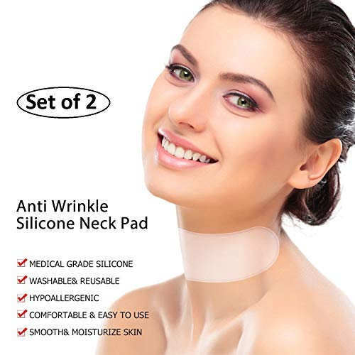 PeakUp Silicone Care Neck Wrinkle Pad-Eliminate Turkey Wrinkles Fine Lines Remover for Collette - Anti Wrinkle Reusable Overnight Smoothing Patch (Set of 2)