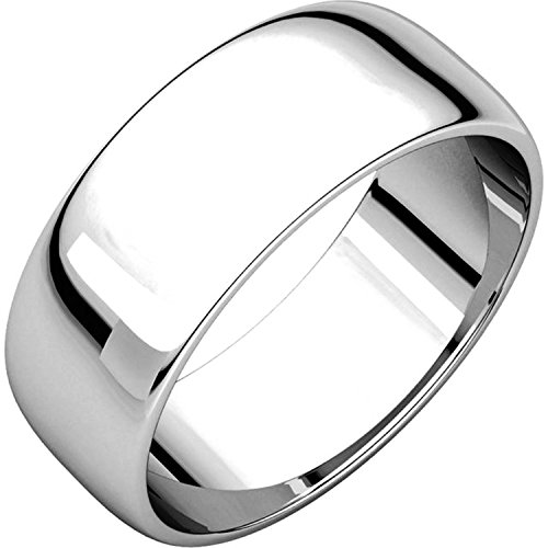Men's and Women's 14k White Gold, 7mm Wide, Plain Wedding Band - Size 6