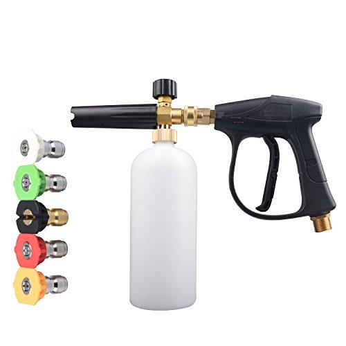 JINWEN 127 High Pressure Washer Gun and Pressure Washer Jet Wash Bottle, Adjustable Snow Foam Lance Foam Cannon Foam Blaster and 5 nozzle tips by Jinwen