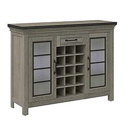 Home Bar Cabinetry Downtown Loft Bar Cabinet – 15 Bottle Wine Storage – 2 Side Storage Cabinets with Adjustable Shelves home bar cabinetry