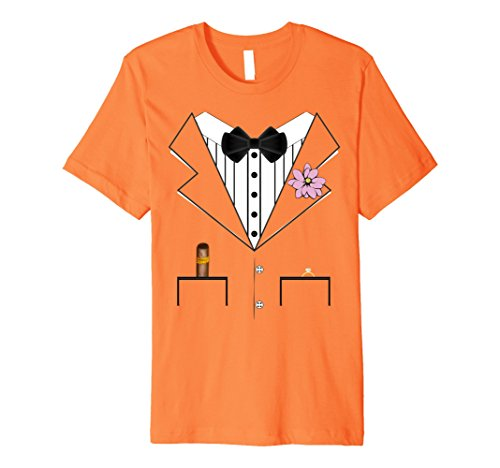 Mens Groom Tuxedo Wedding Halloween Costume Premium T-shirt 3XL Orange