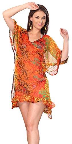 La Leela Caftan Swimwear Soft Chiffon Women Beach Plus Cover Up Dress Orange