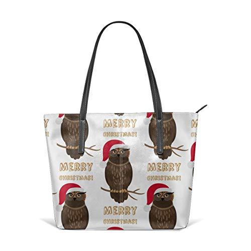 HUAJAL Christmas Owl with Santa Hat Satchel Purses and Handbags for Women Shoulder Tote Bags