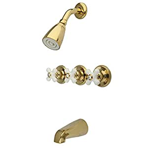 Kingston Brass KB232PX Tub and Shower Faucet with 3-Cross Handle, Polished Brass