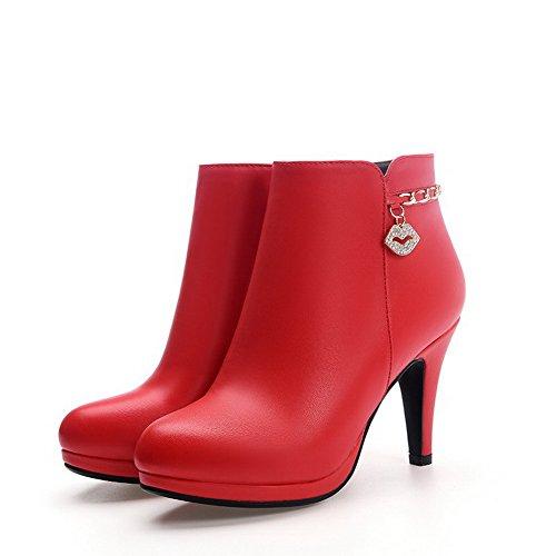 AllhqFashion Mujeres Cremalleras Tacón embudo Sólido Tobillo Botas con Diamante de Imitación Rojo