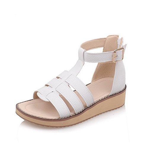 AllhqFashion Women's Solid PU Low heels Open Toe Zipper Wedges-Sandals White o30Jjzo