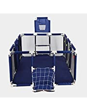 XINBTK Baby Playpen(Large-Foldable) Indoor&Outdoor Play pen - Rectangular Baby Play Yard(parc pour bébé) with pull ring (Not Includes Balls),BLUE