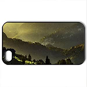 beautiful farm in a green valley - Case Cover for iPhone 4 and 4s (Farms Series, Watercolor style, Black)