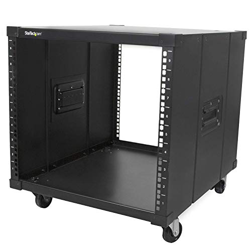 StarTech.com 9U 4 Post Open Frame Rack with Handles - Rolling Cabinet - Portable Server Rack (RK960CP) (Mobile Rack Server)