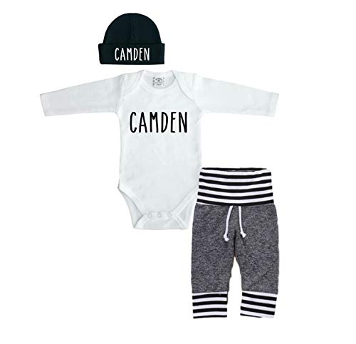 Sweet Youngster Personalized 0-3 Month Bodysuit with Beanie and Pants. Newborn Baby Outfit]()